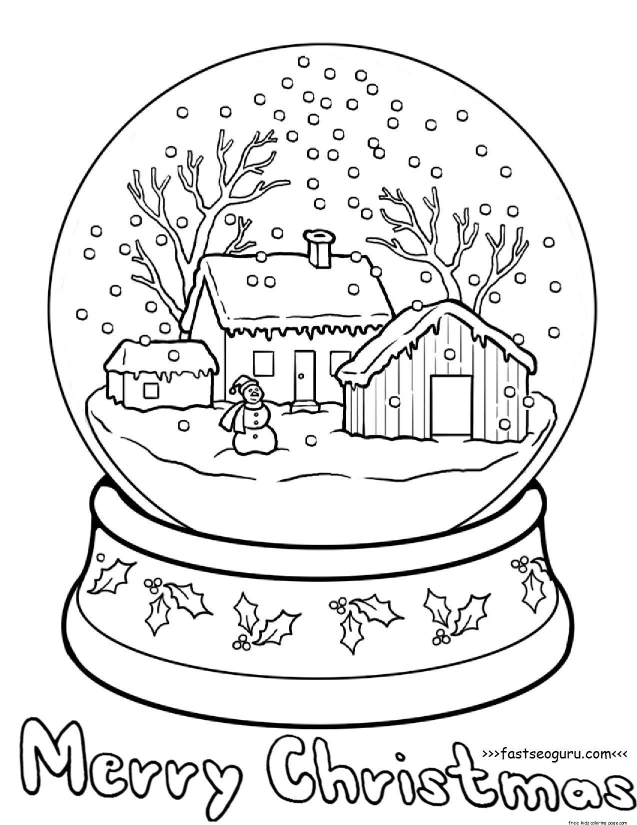 Christmas Globe Coloring Pages With Page Cmscorpion Pinterest