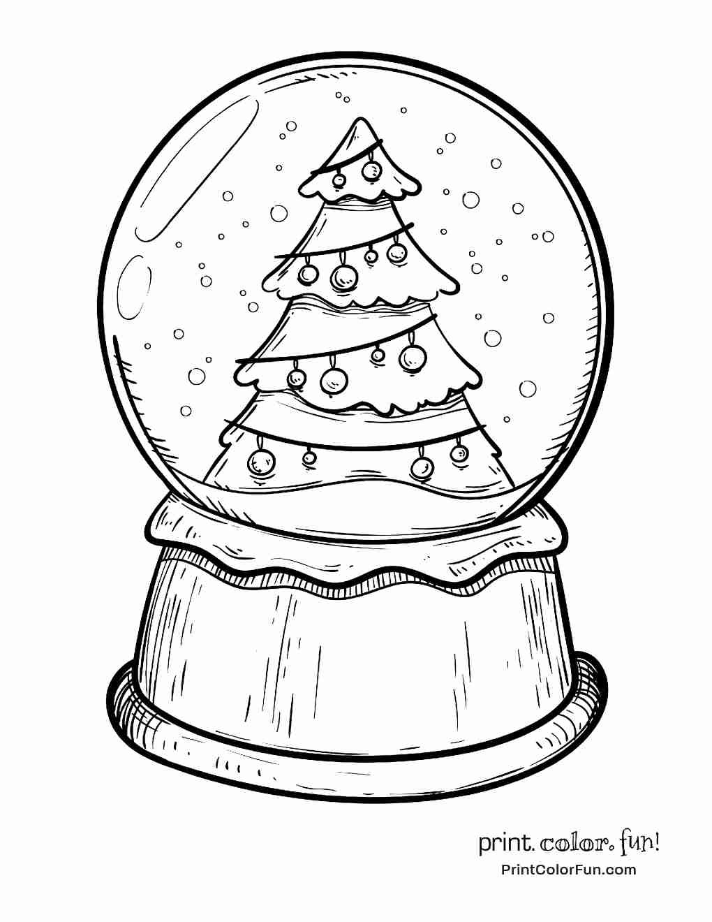 Christmas Globe Coloring Pages With Snow Color Reindeer Page Free