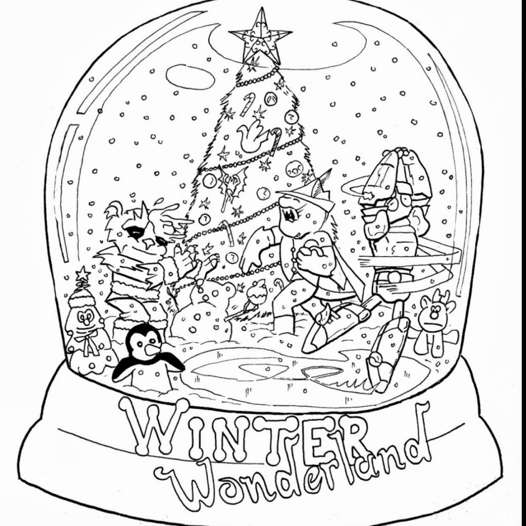 Christmas Globe Coloring Pages With Snow Page Book And