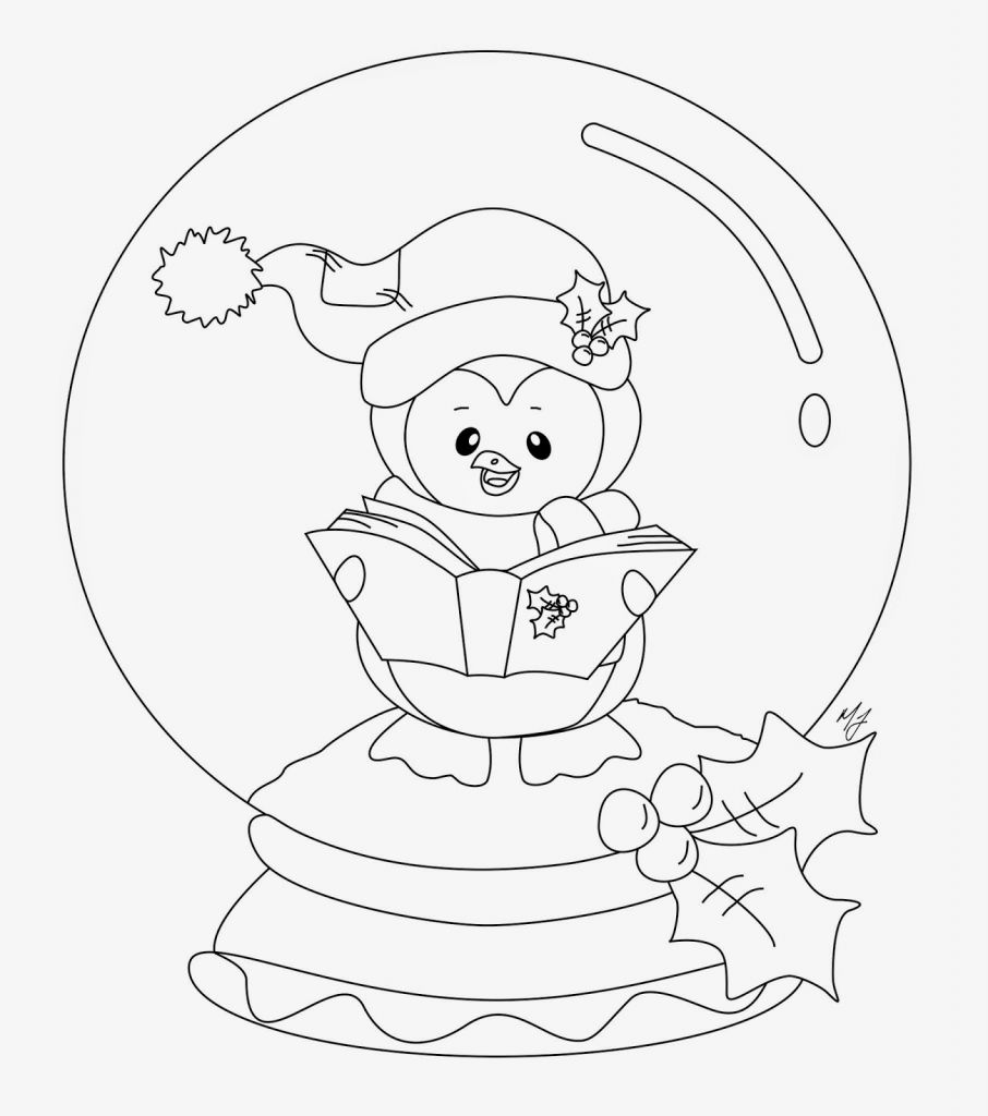 Christmas Globe Coloring Pages With Snow Page Free Recipes Ruva