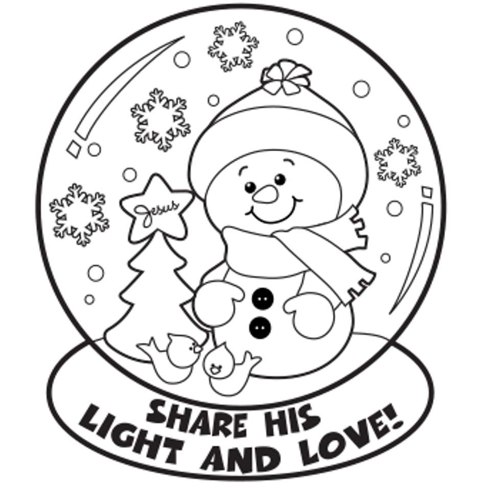 Christmas Globe Coloring Pages With Snow Page Home