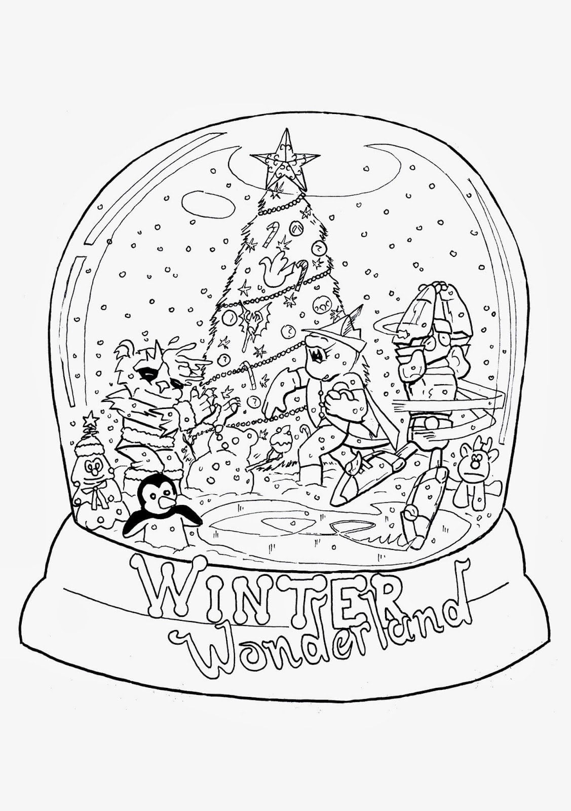 Christmas Globe Coloring Pages With Snow Page