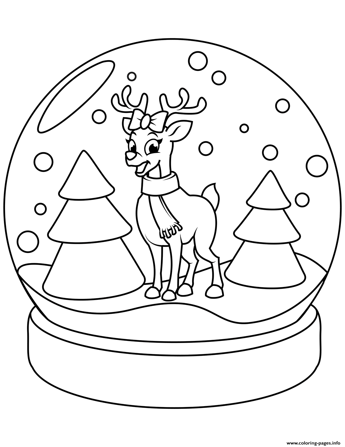 Christmas Globe Coloring Pages With Snow Reindeer Printable