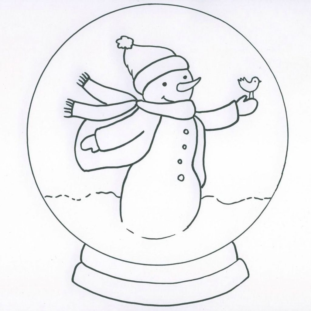 Christmas Globe Coloring Pages With Snowman Snow Page Globes Pinterest