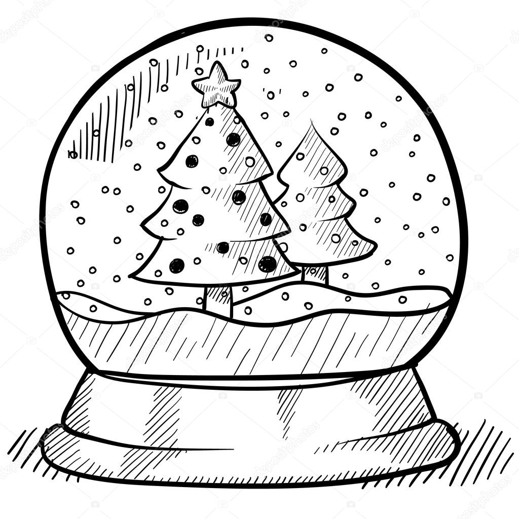 Christmas Globe Coloring Pages With Toy Glass Snow House Book Page For Adults Best