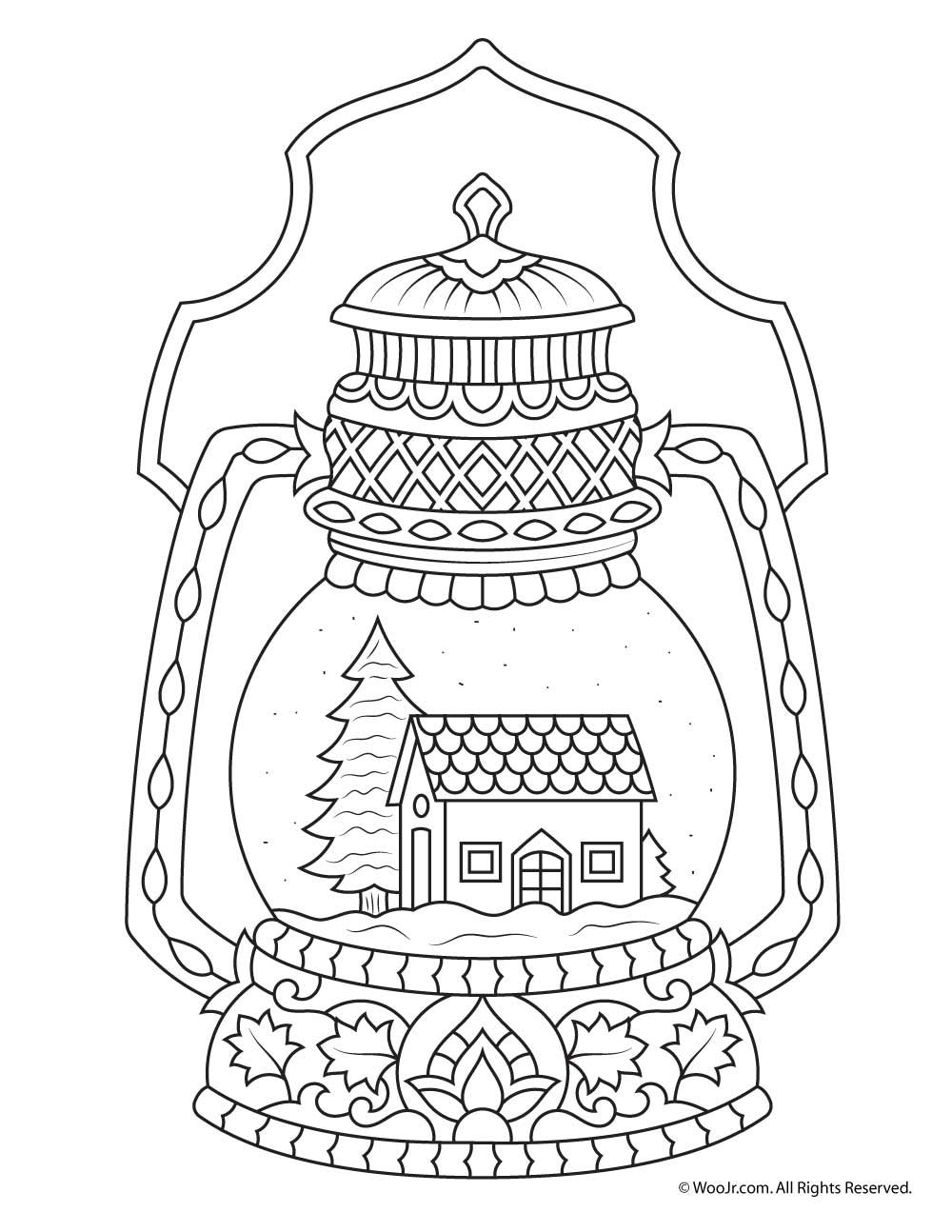 Christmas Globe Coloring Pages With Winter Snow Adult Page Easter