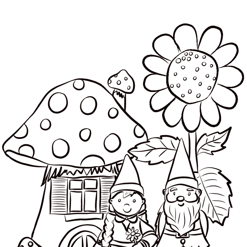 Christmas Gnome Coloring Page With Garden Gnomes Family Free Printable Pages