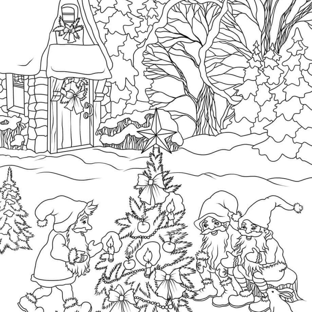 Christmas Gnome Coloring Page With Gnomes Are Decorating A Tree Free