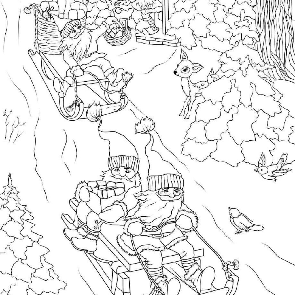 Christmas Gnome Coloring Page With Gnomes Are Delivering Presents On Sleds