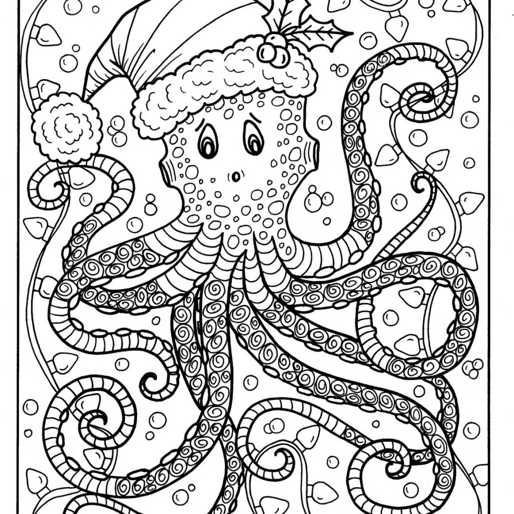 Christmas Gnome Coloring Page With Octopus Adult Color Holidays Beach Etsy