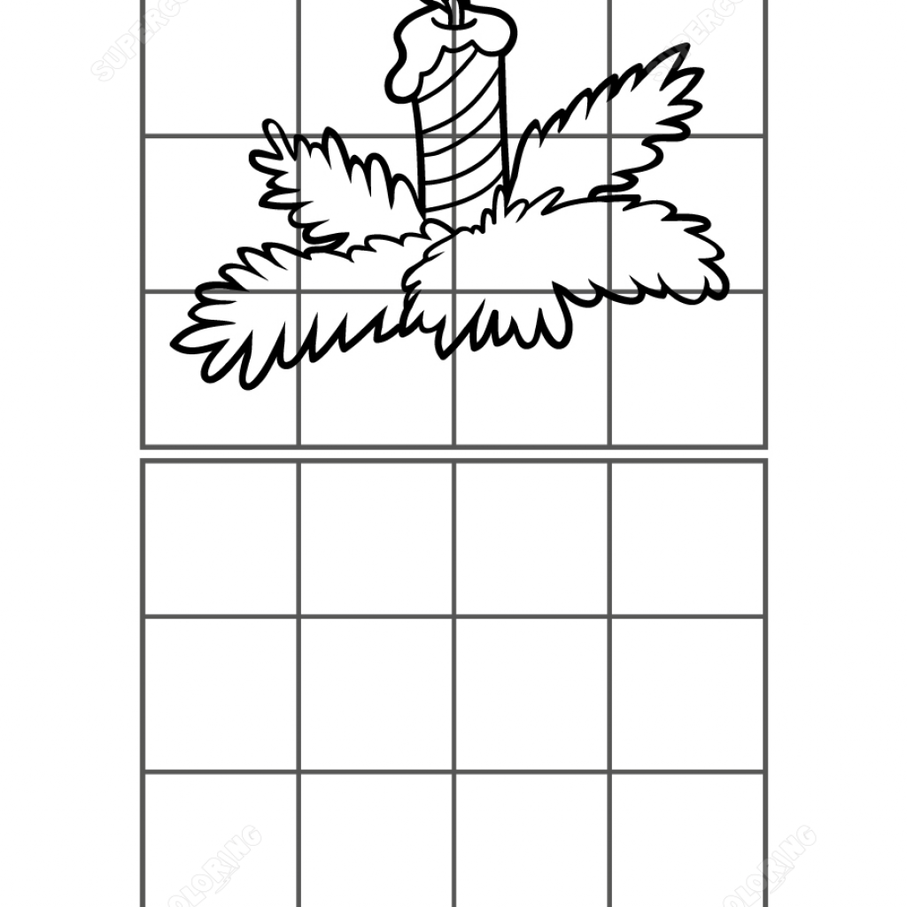 Christmas Grid Coloring With Copy The Picture Of Candle Puzzle Free Printable