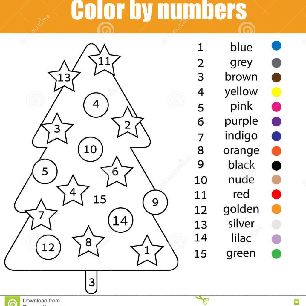 Christmas Grid Coloring With Page Tree Color By Numbers Stock Vector