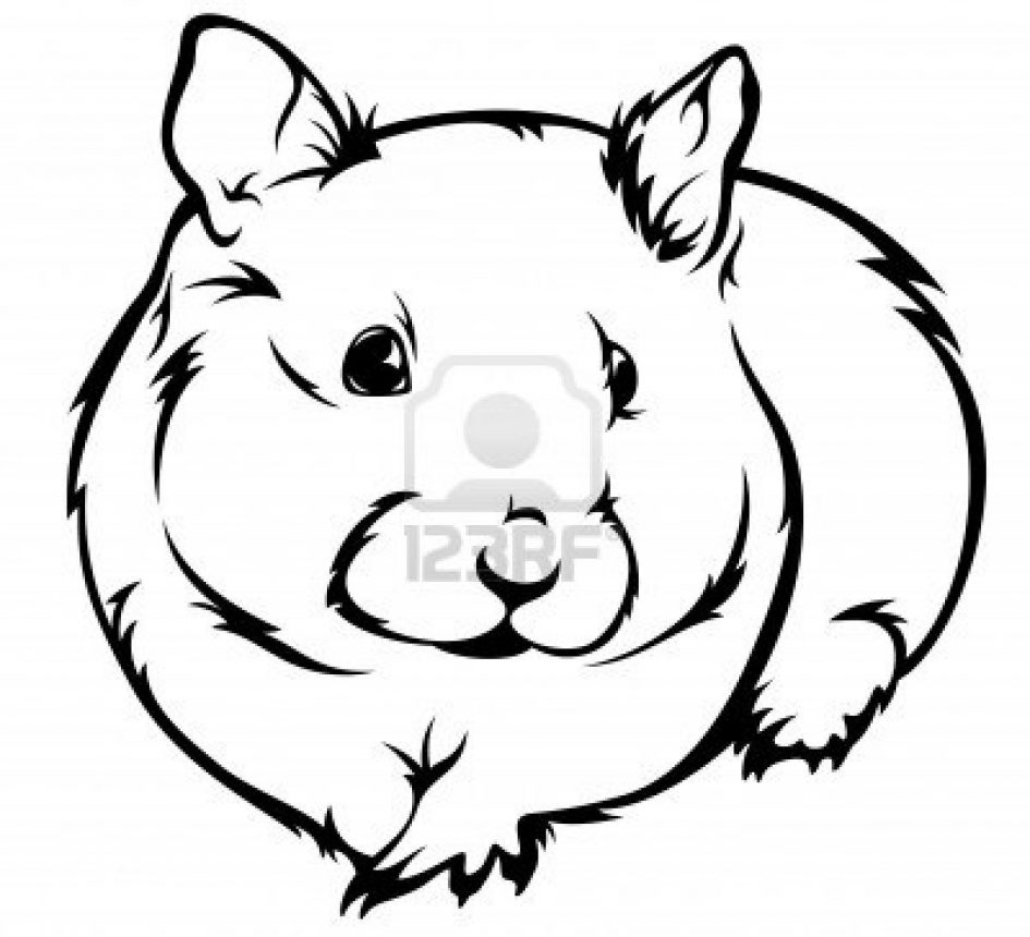 Christmas Hamster Coloring Pages With