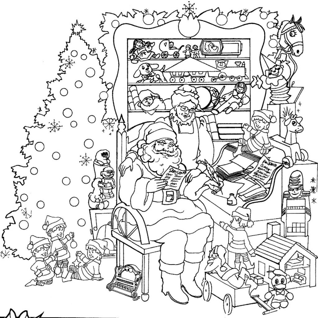Christmas Hard Coloring Pages With Many Interesting Cliparts