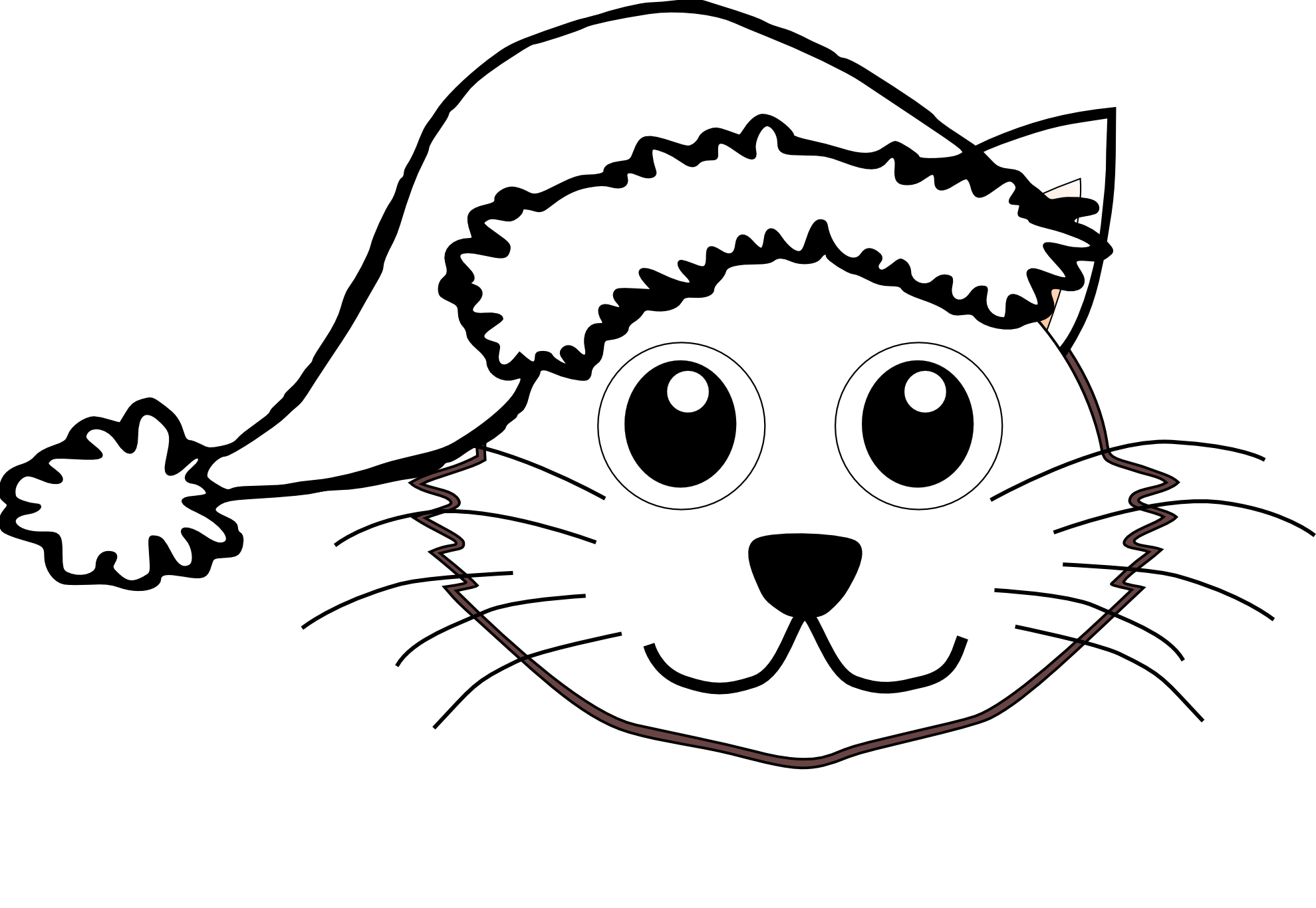 Christmas Hat Coloring Pages With Free Cartoon Santa Download Clip Art On