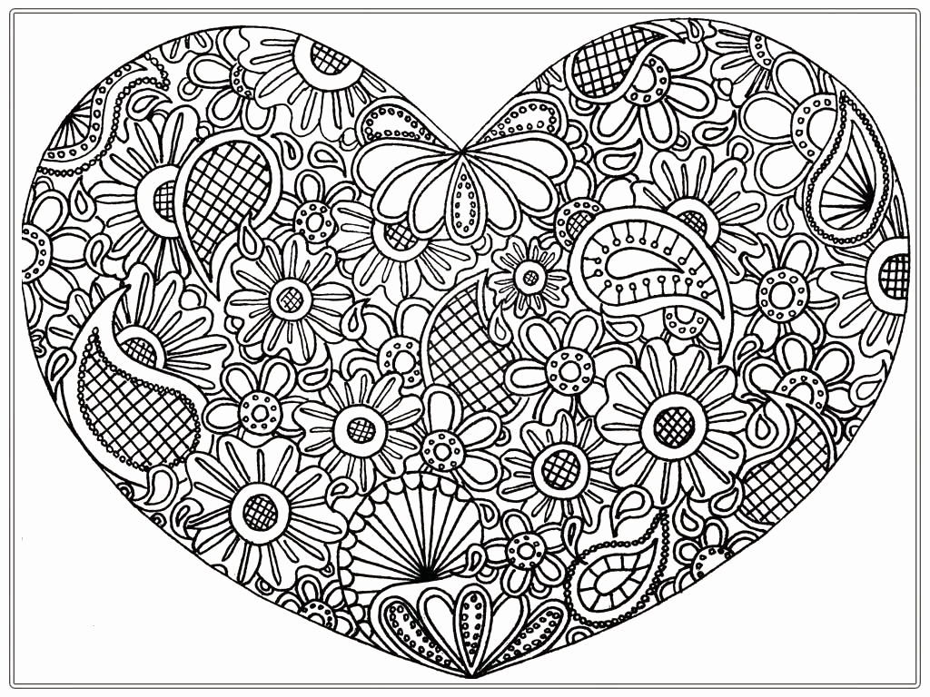 Christmas Heart Coloring Page With Detailed Ornament Pages Printable