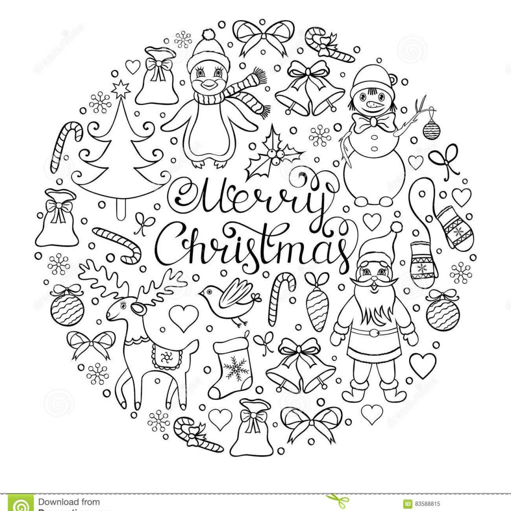 Christmas Heart Coloring Page With Hand Drawn Pattern Stock Vector Illustration Of