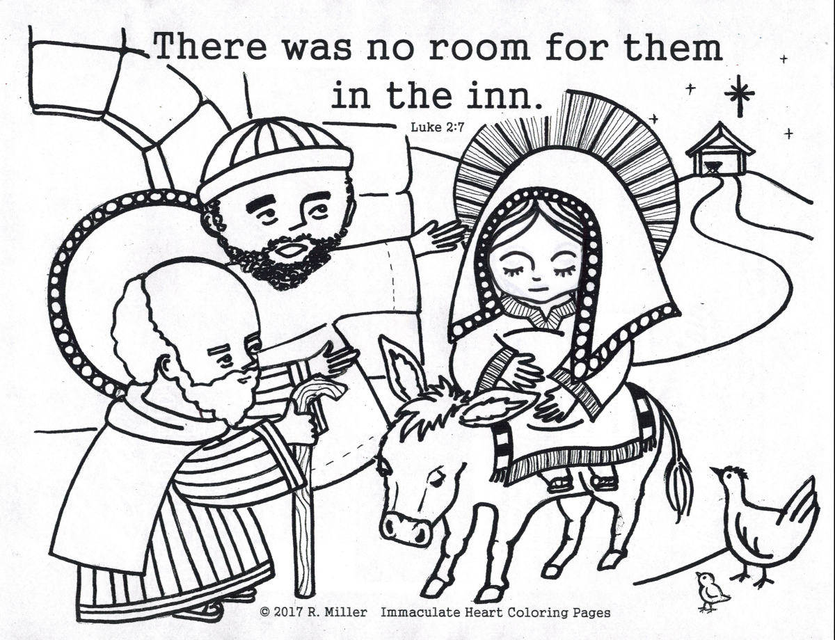 Christmas Heart Coloring Page With No Room At The Inn Immaculate Pages