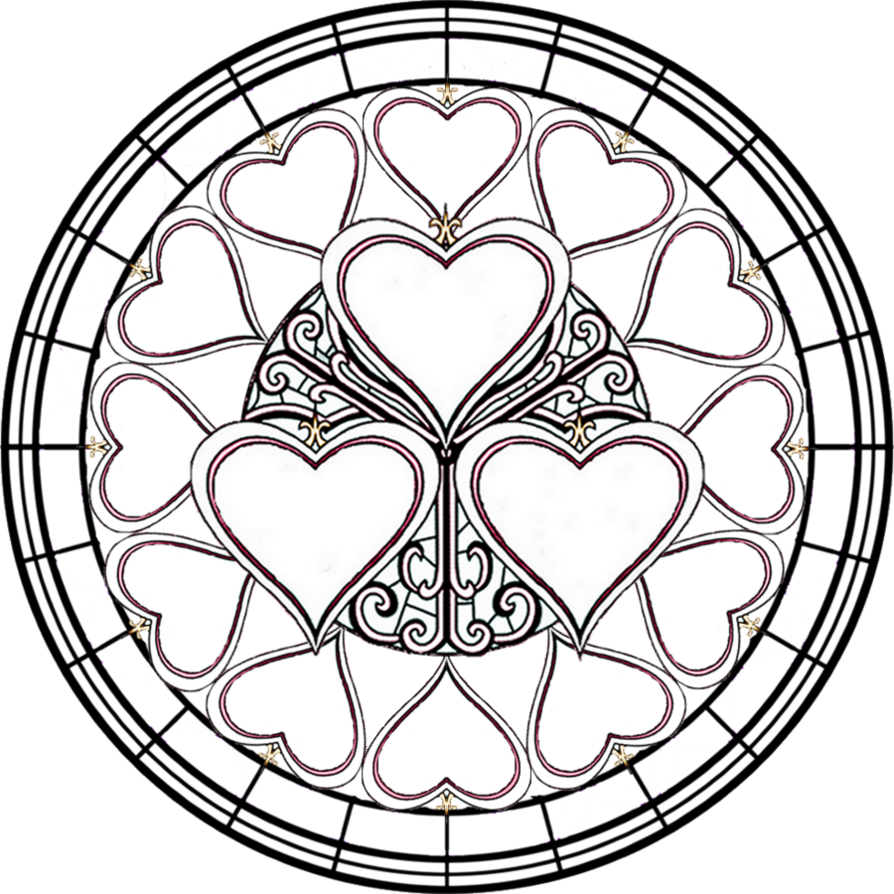 Christmas Heart Coloring Page With Pages Stained Glass Crosses Google Search Line Drawings
