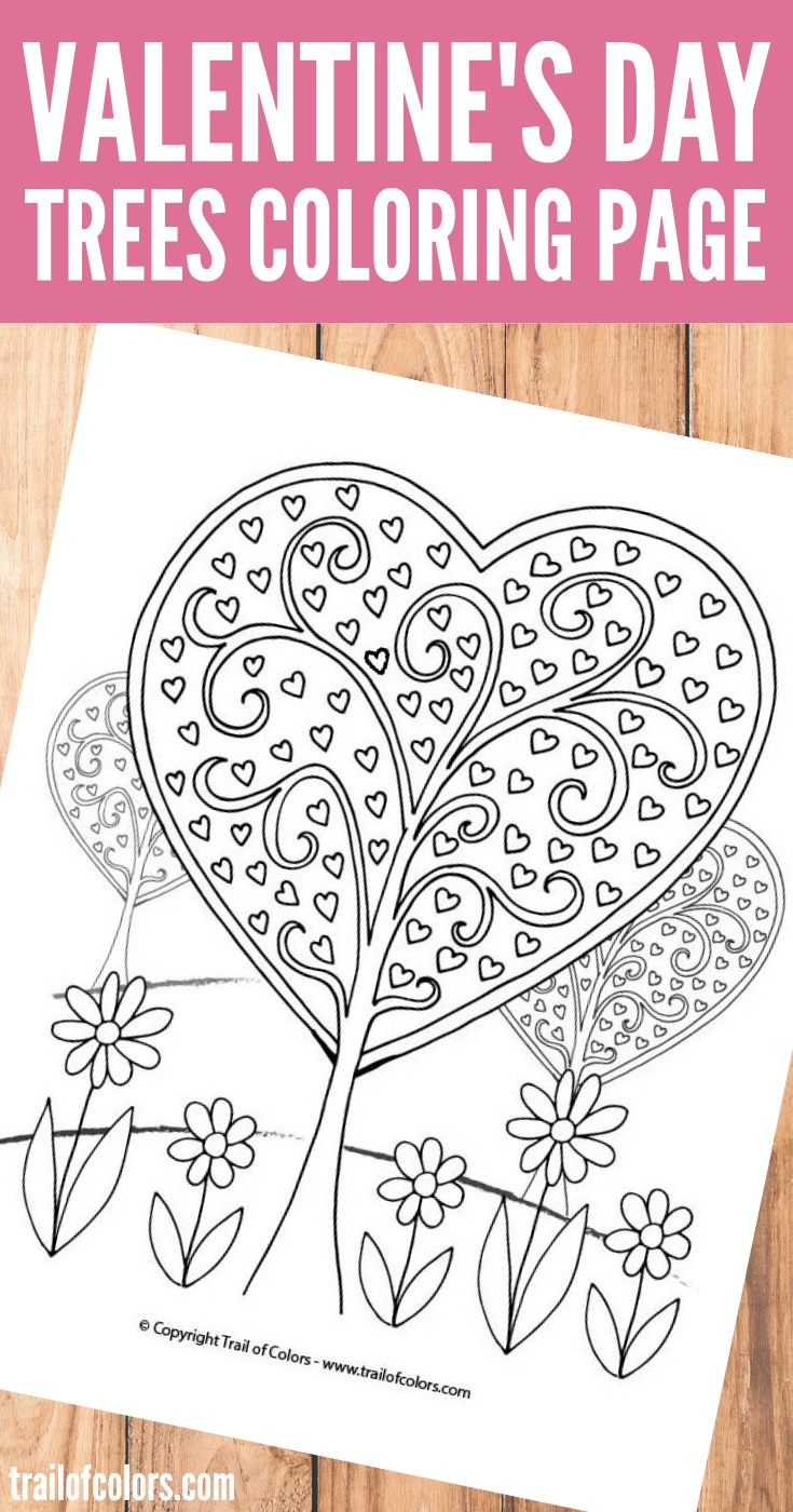 Christmas Heart Coloring Page With Trees Valentines Day Trail Of Colors