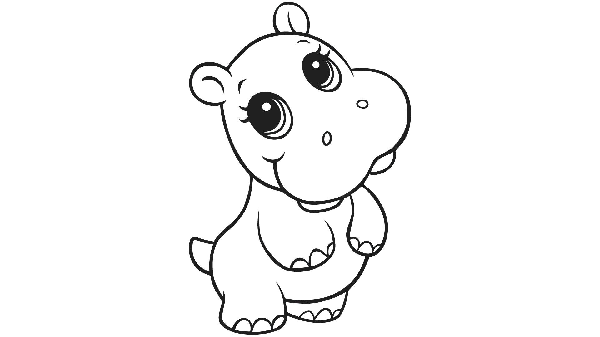 Christmas Hippo Coloring Page With Cartoon Pages Download New Cute