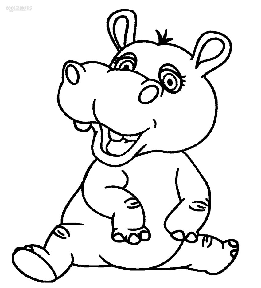 Christmas Hippo Coloring Page With For Kids Singular Baby Pictures Farm