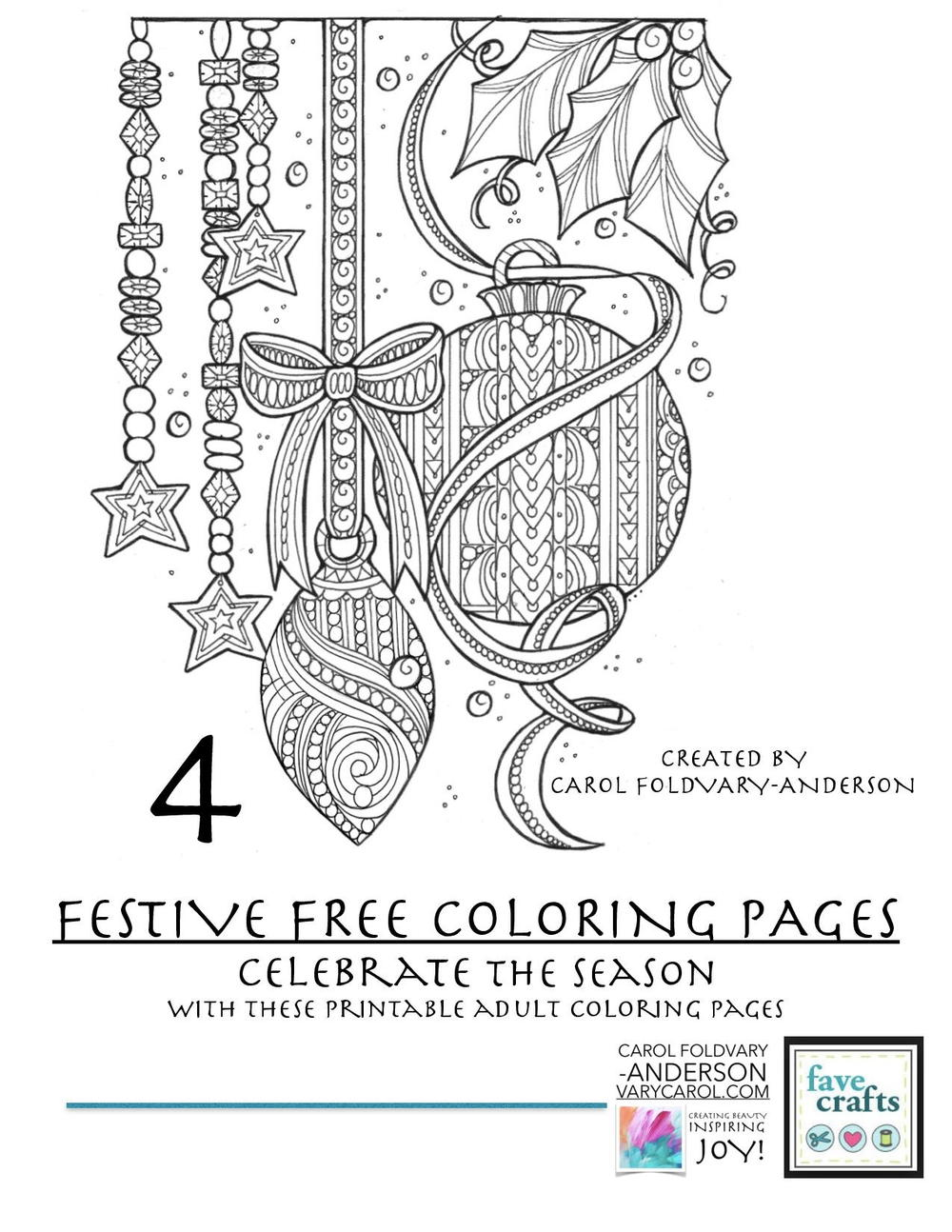 Christmas Holiday Coloring Pages With 4 Festive Free For Adults PDF