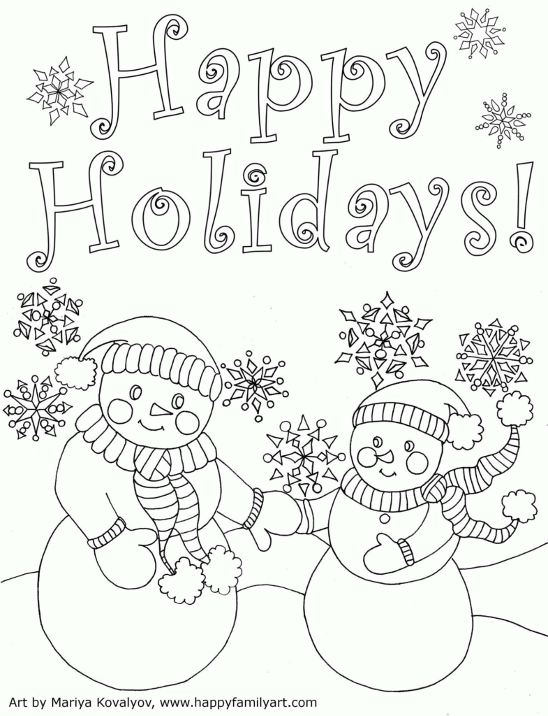 Christmas Holiday Coloring Pages With Save Cards