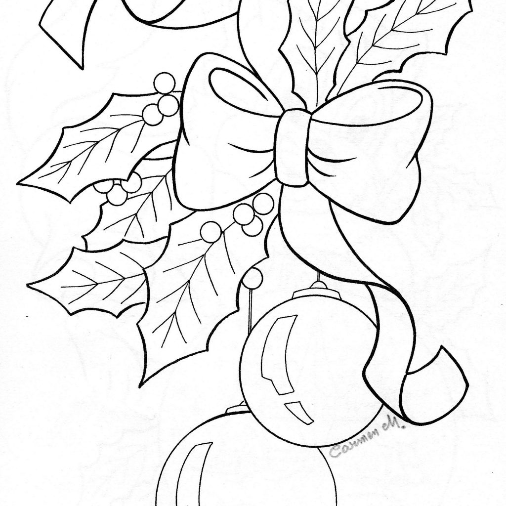 Christmas Holly Coloring Pages With Bow Ornaments Sketch Adult Pictures Pinterest