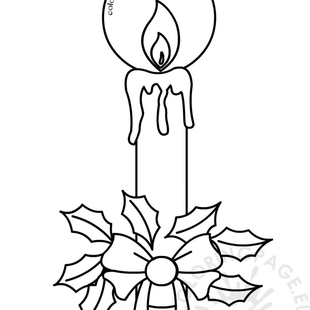 Christmas Holly Coloring Pages With Candles Page