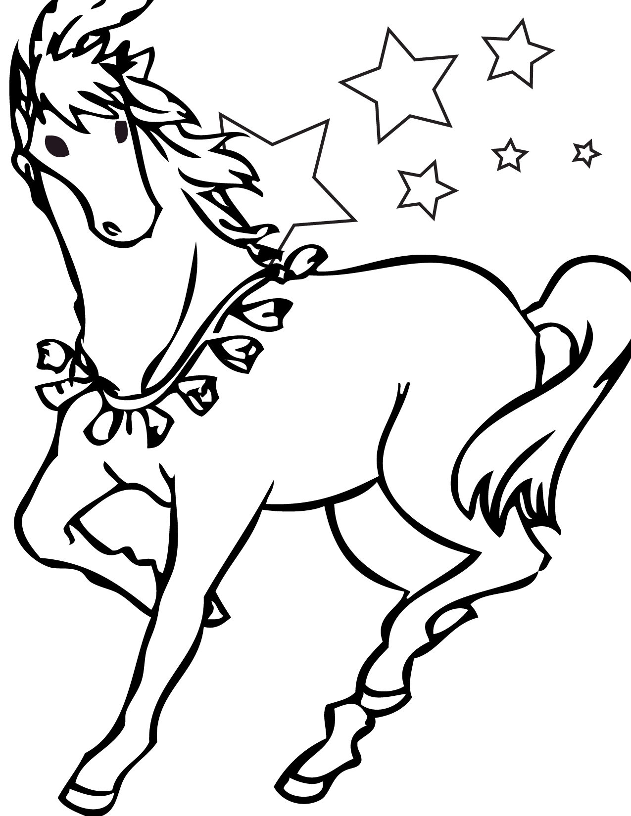 Christmas Horse Coloring Pages With Free Printable For Kids