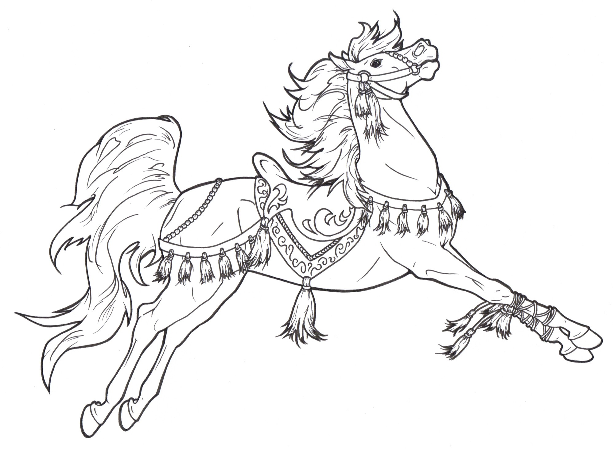 Christmas Horse Coloring Pages With Imagination One Open Sleigh Page Drawing At