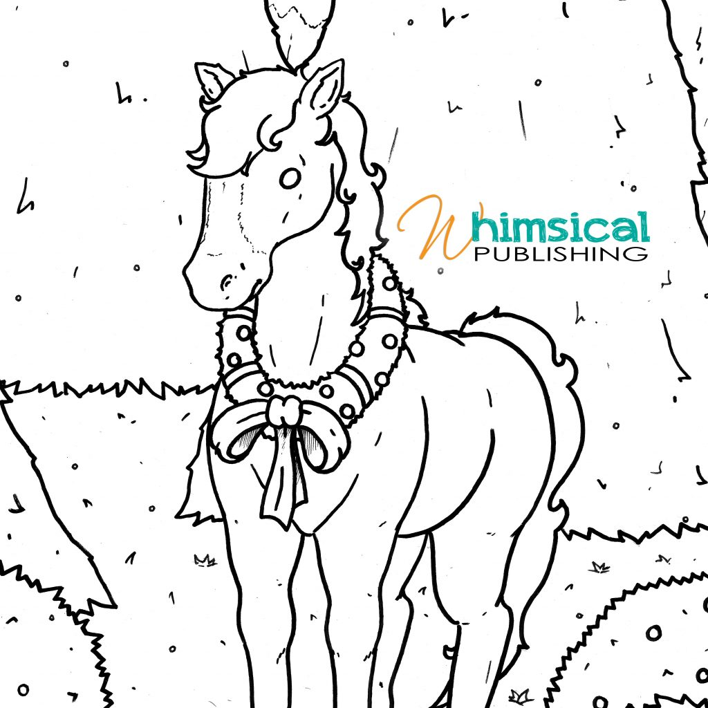 Christmas Horse Coloring Pictures With FREE Printable Colouring Page Horsey