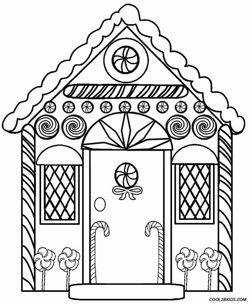 Christmas House Coloring Pages With Detailed Gingerbread Printables