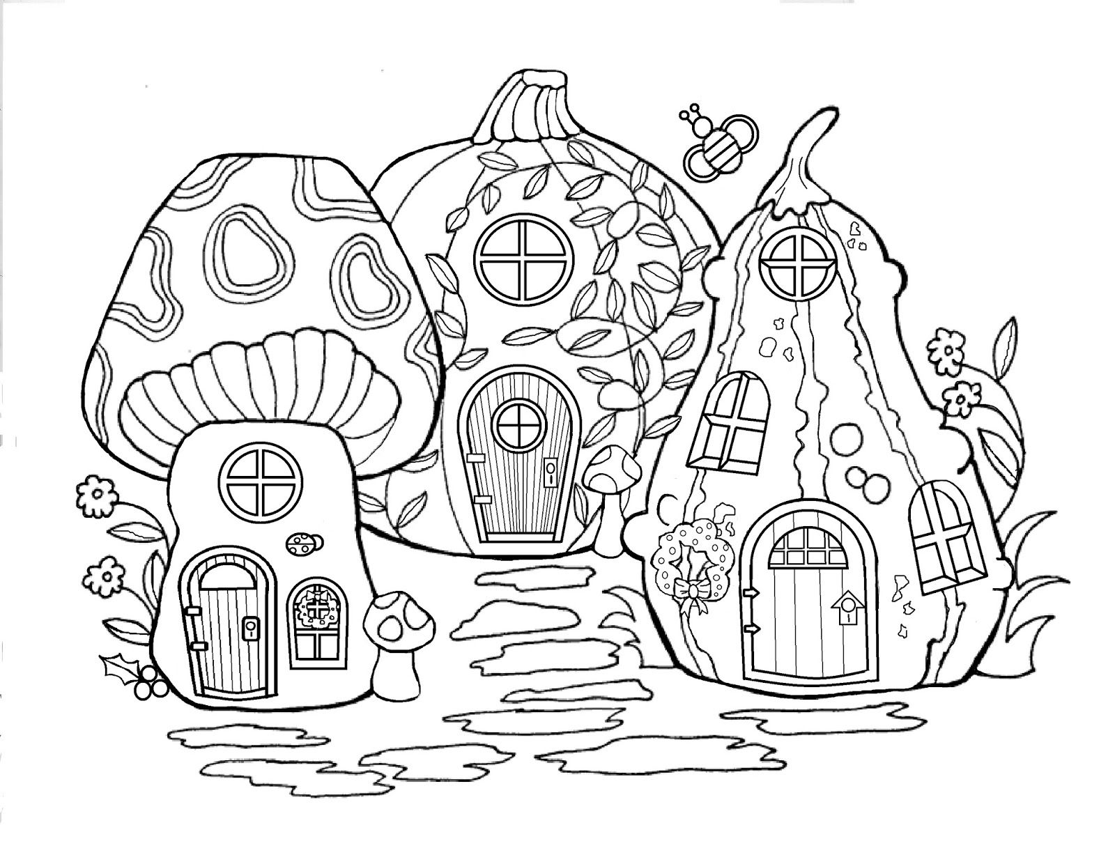 Christmas House Coloring Pages With Fairy Merry Day13 Pinterest