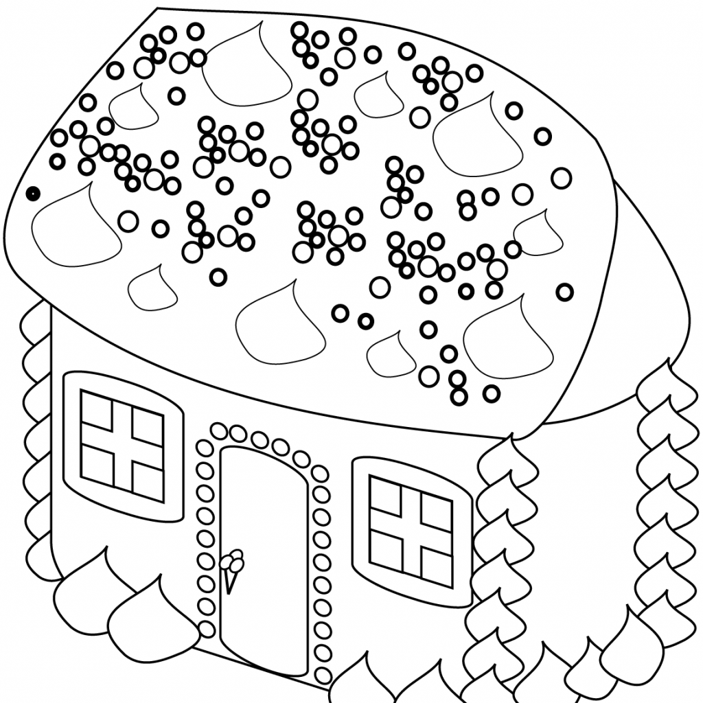Christmas House Coloring Pages With Gingerbread Page Free Printable