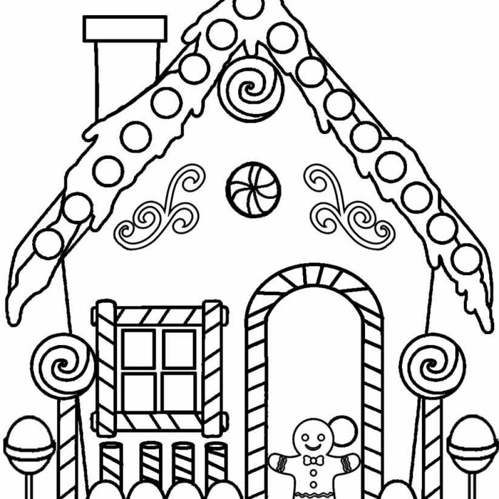 Christmas House Coloring Pages With Gingerbread Patterns Printables Templates