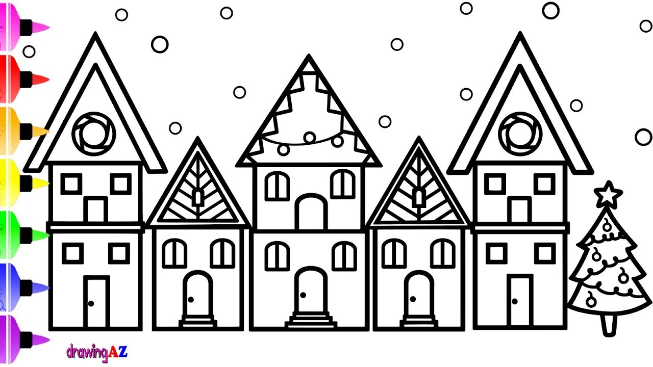 Christmas House Coloring Pages With How To Draw For Kids And Cute Page