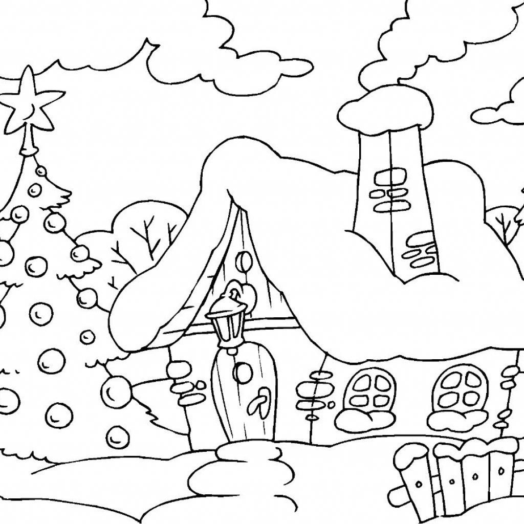 Christmas House Coloring Pages With Page Free Printable For Kids