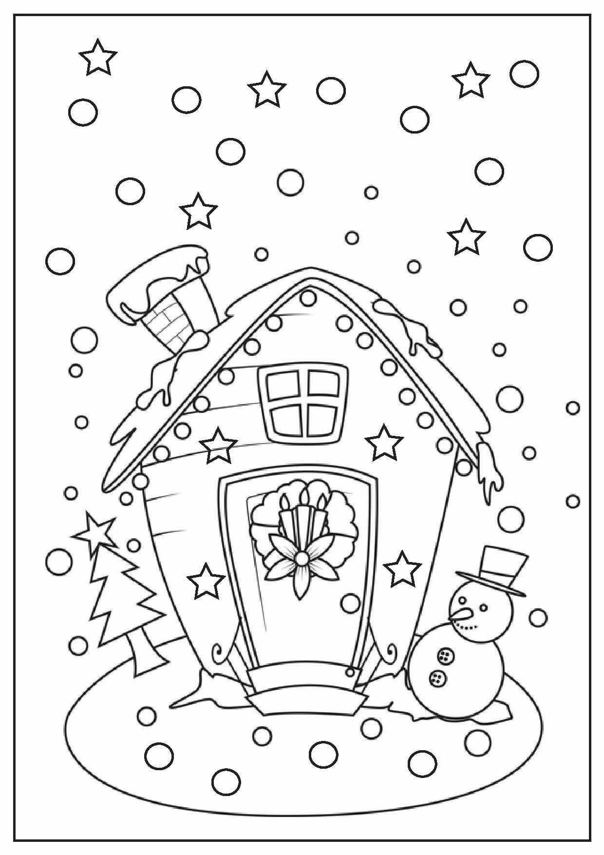 Christmas House Coloring Pages With Printable
