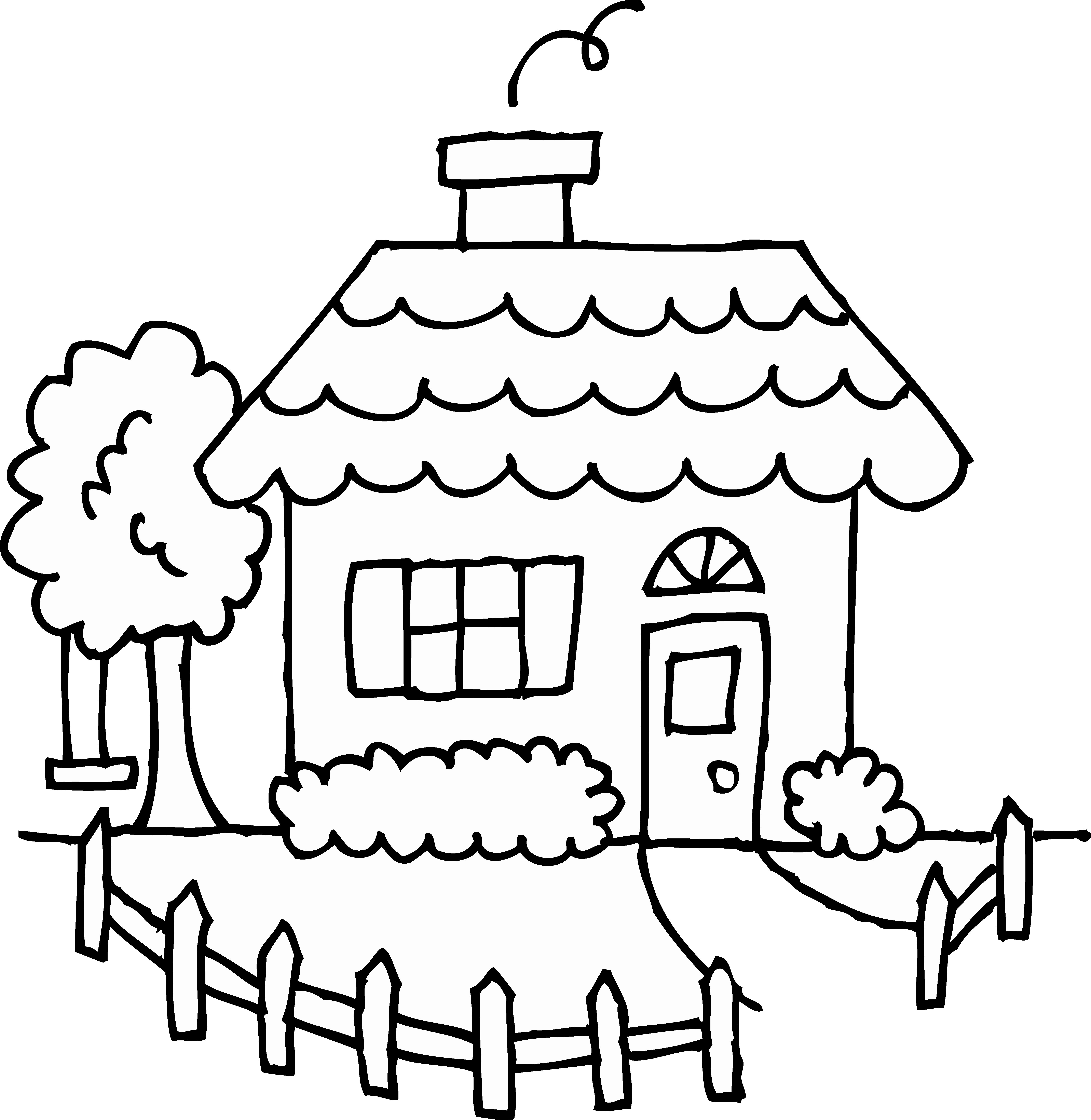 Christmas House Coloring Pages With Save