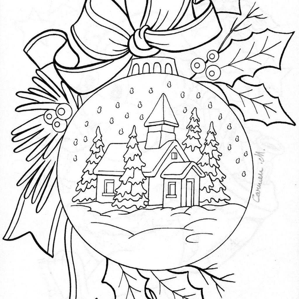 Christmas House Coloring Pages With Snow Adult Printable