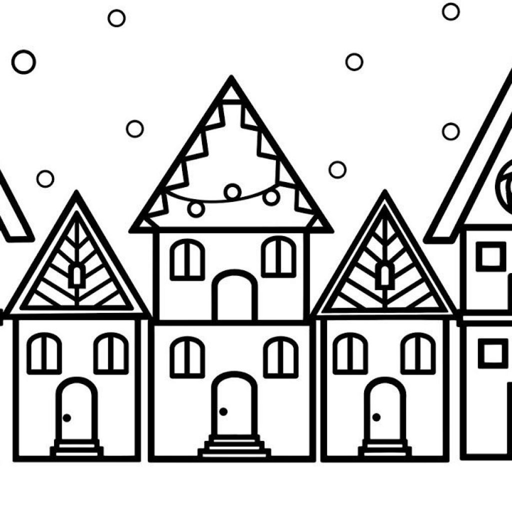 Christmas House Coloring With How To Draw For And Page