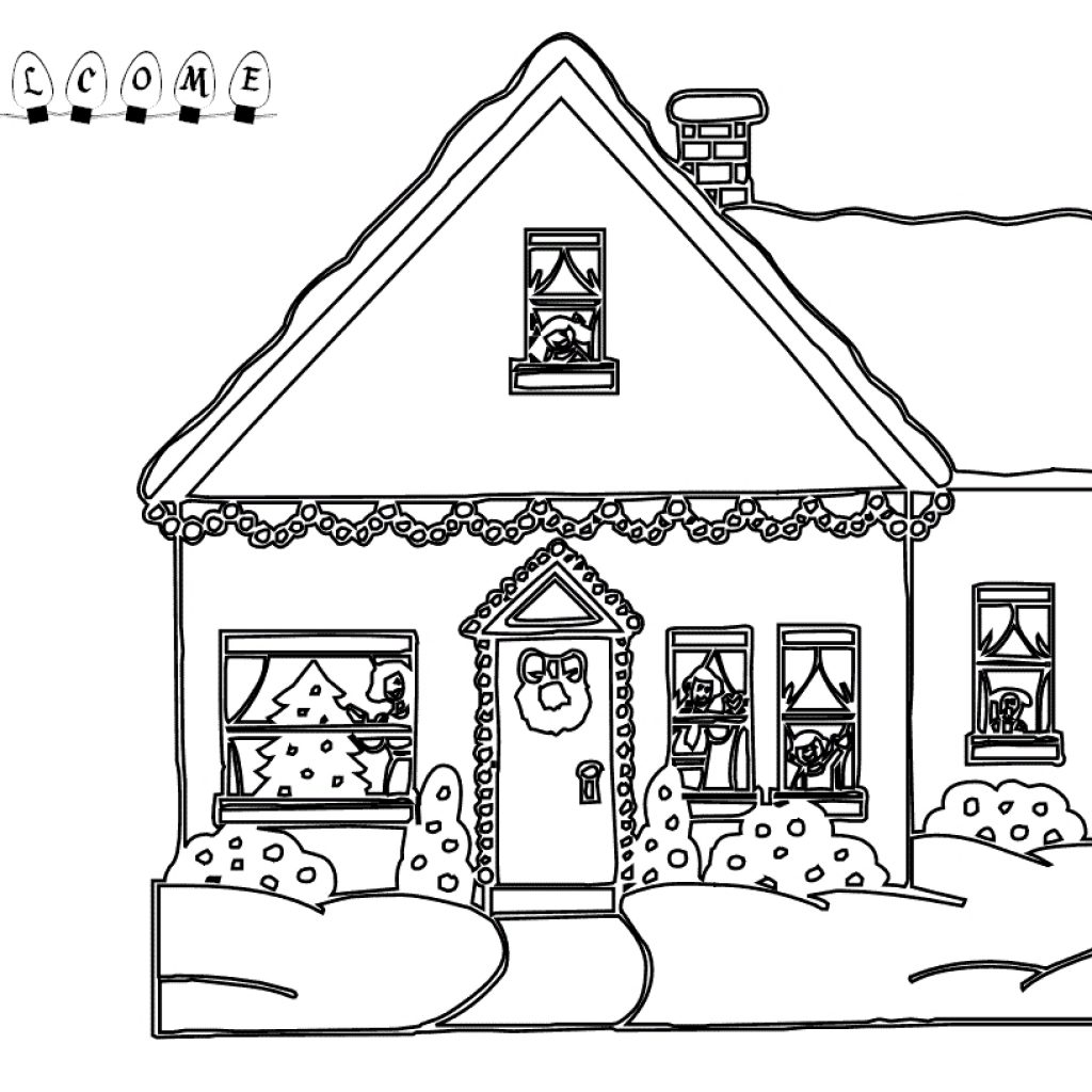 Christmas House Coloring With Inspirational Pages Of Big Houses Kids