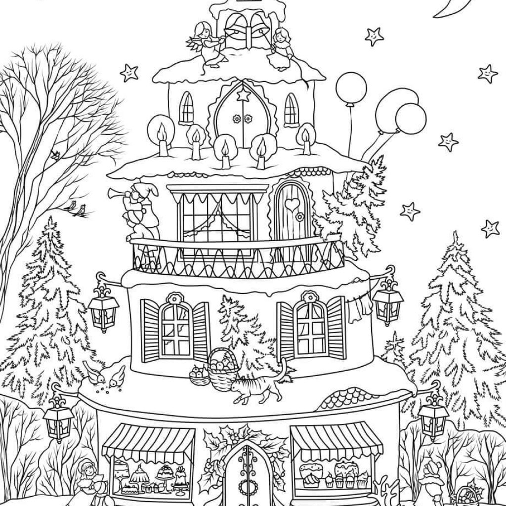 Christmas House Coloring With Page Free Printable Pages