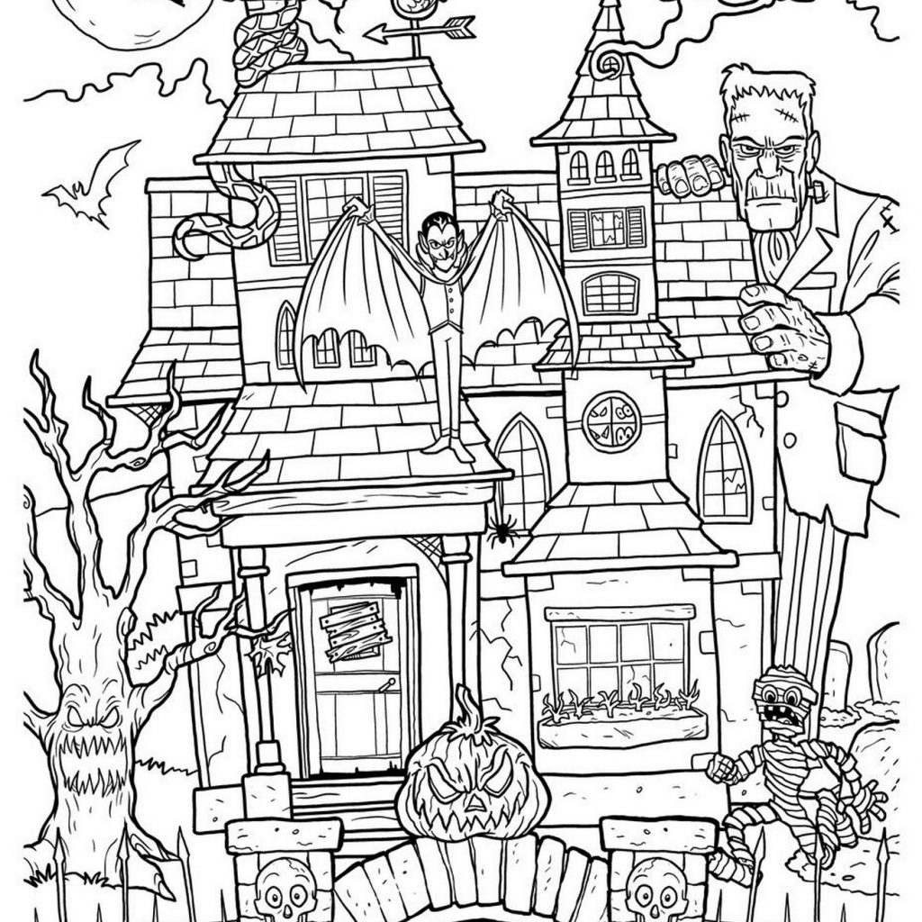 Christmas House Coloring With Pages For Adults New Big