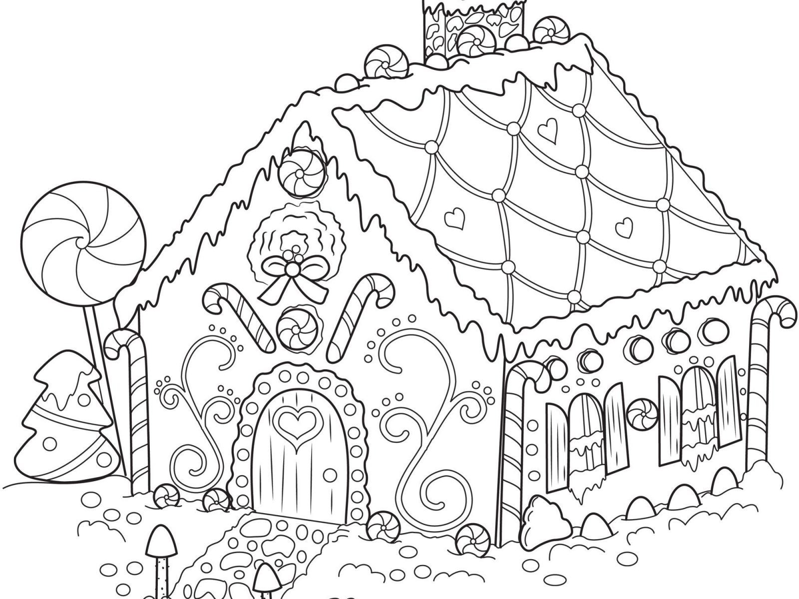Christmas House Coloring With Pages New Houses