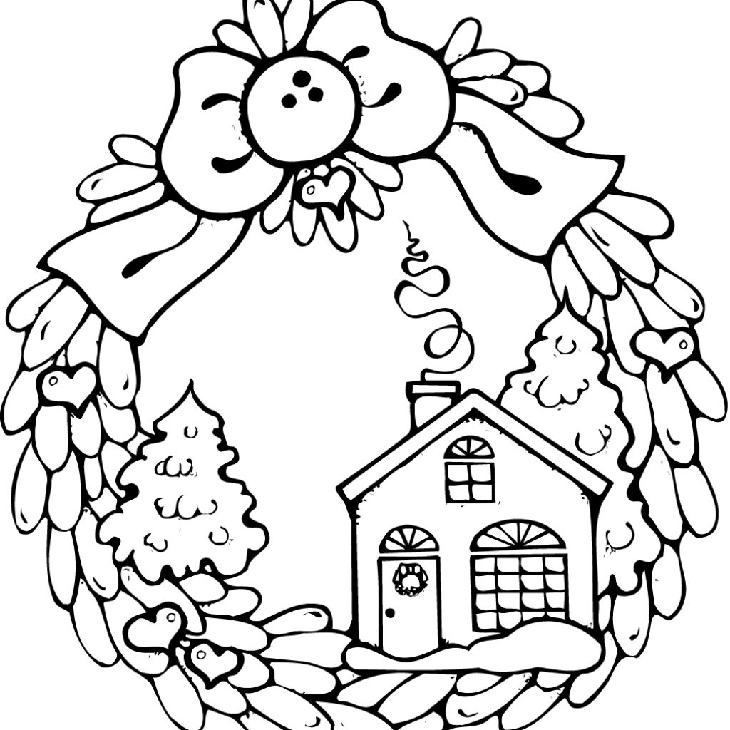 christmas-house-coloring-with-pages-of-houses-wreath-gingerbread