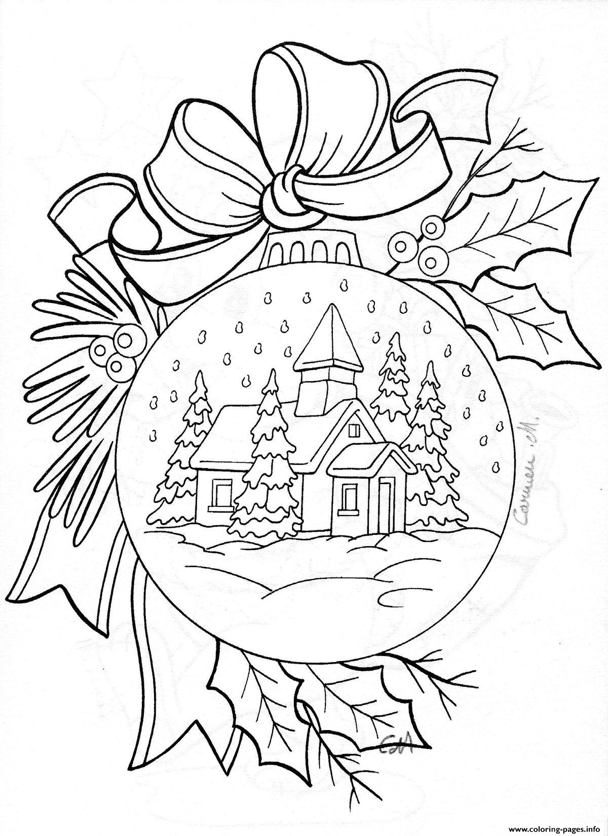 Christmas House Coloring With Snow Adult Pages Printable