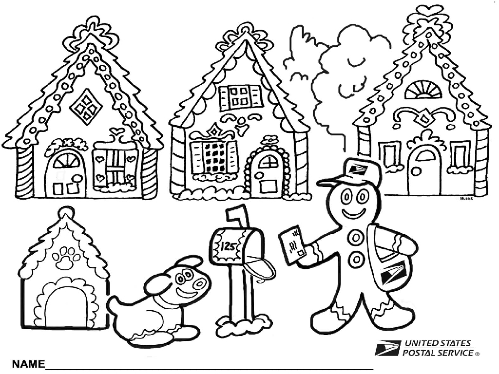 Christmas House Coloring With Unique Pages Disney Gingerbread Gallery